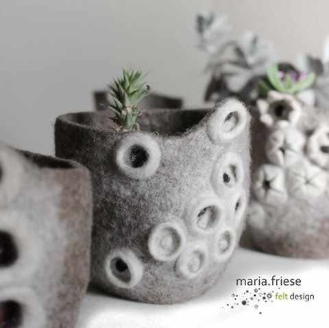 Felt vessels by Maria Friese