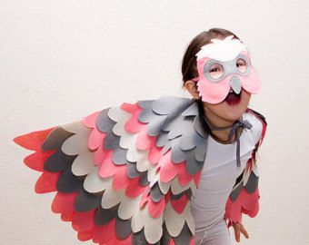 Childrens Bird Costume, Pink Galah Parrot Wings and Mask Set, Kids Dress up Toy, Girls and Toddlers, Australia Day