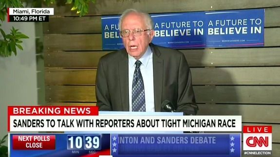 Bernie Sanders gives last minute news conference next to some guy's shed