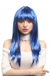Perücke Karneval Fasching Damen lang glatt Pony blau Glitter Strähnen XR-003 - Vorschau 1