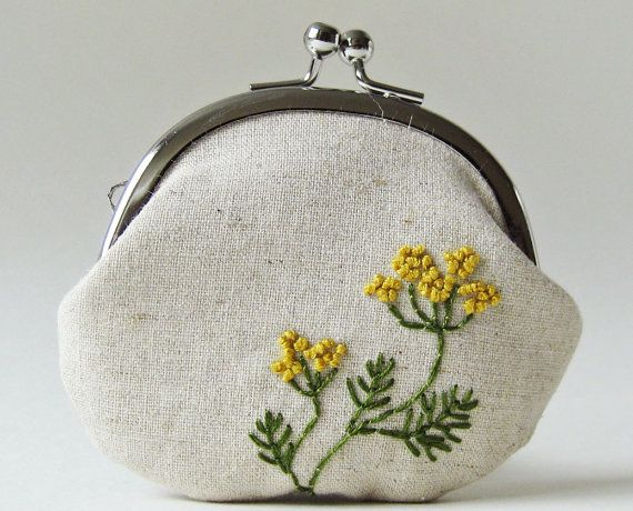 Dill flowers linen coin purse by oktak on Etsy, $38.00
