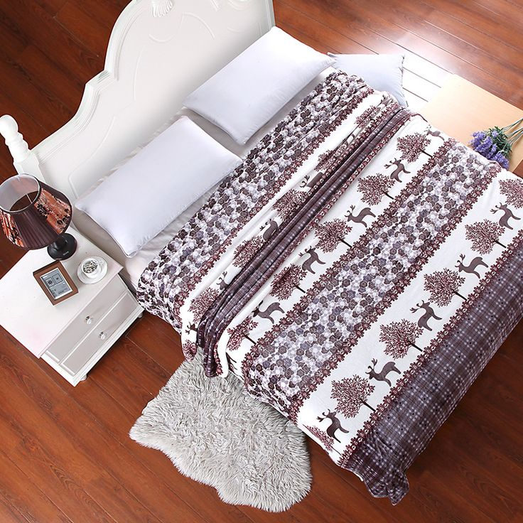>> Click to Buy << Home Textiles,Deer And Woods Style Coral Fleece Blankets On Bed The Throws Can Be As Bed Sheet Bedspreads #Affiliate