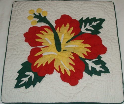 2 Hawaiian quilt throw pillow cover 16x16 100 hand quilted100 hand appliqued ** Check out the image by visiting the link.
