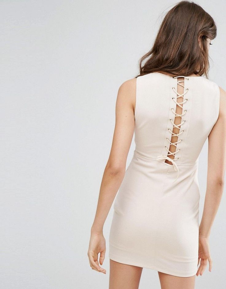 Oeuvre Dress With Lace Up Back - Orange