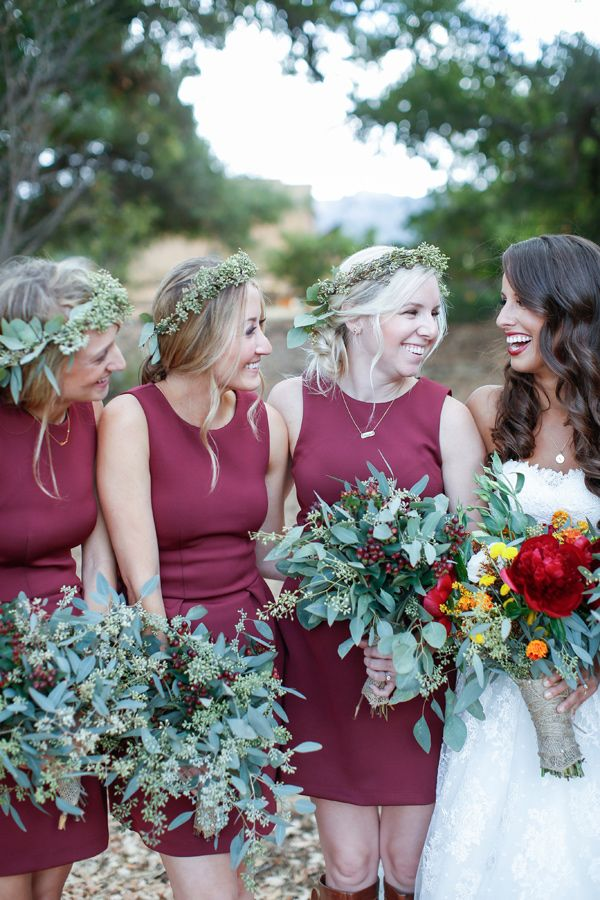 eucalyptus bouquets - photo by Jenny Smith and Co http://ruffledblog.com/pumpkin-themed-fall-wedding