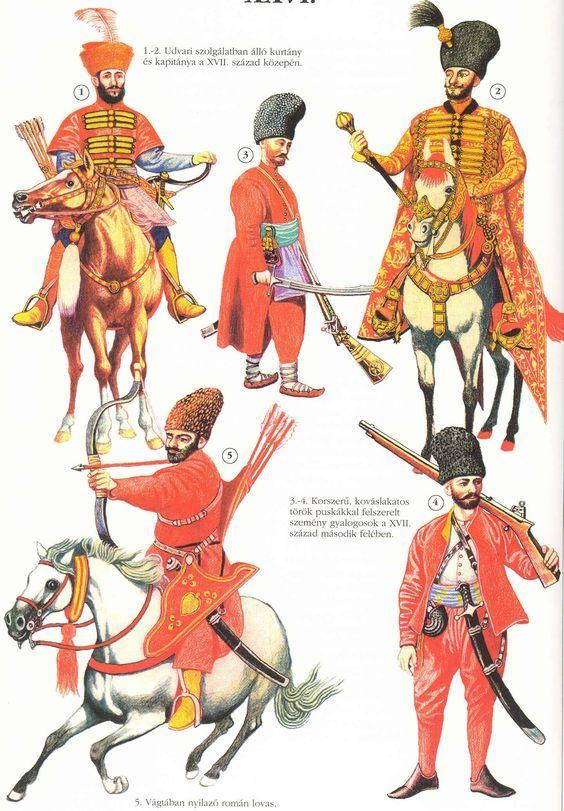 Armia siedmiogrodzka 17w: 1-2 - nadworna jazda wołoska lub mołdawska 3-4 - semeni, piechota wołoska 5 - lekki jeździec wołoski lub mołdawski