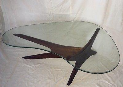 Moderno antigo de meados do século Adrian Pearsall Bumerangue noz tabela De Café De Vidro
