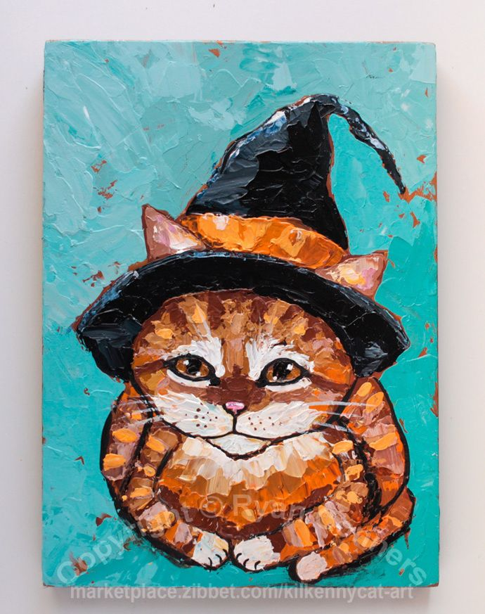 The Little Ginger Witch Original Impasto Palette Knife Halloween