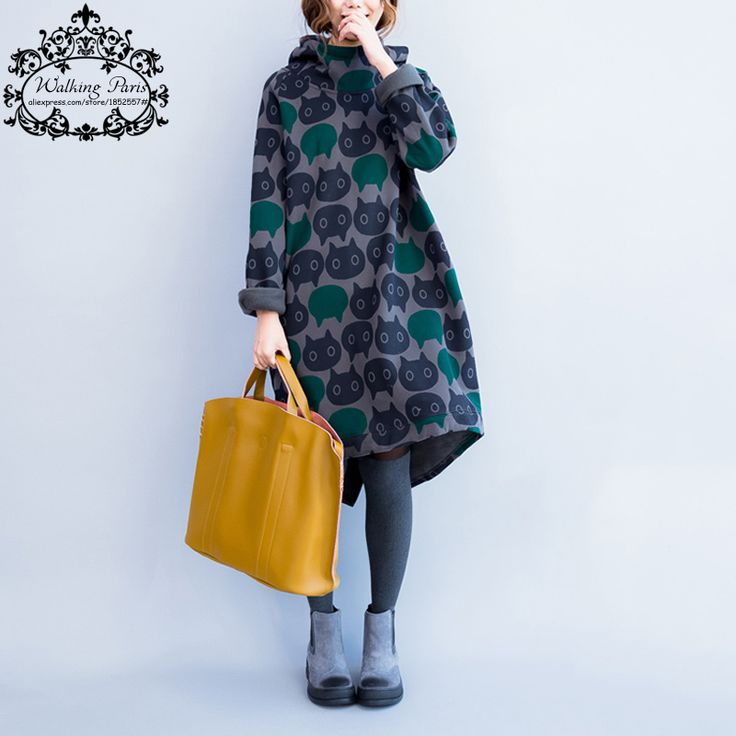 Mujeres de Talla grande Sudadera Engrosamiento Invierno Cálido Algodón Gato Femenino de la Manera de Impresión de Gran Tamaño Vestido de Cuello Ocasional