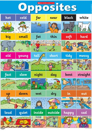 Opposites poster – Early Years teaching resource - Scholastic - include in the quiet book                                                                                                                                                                                 Más