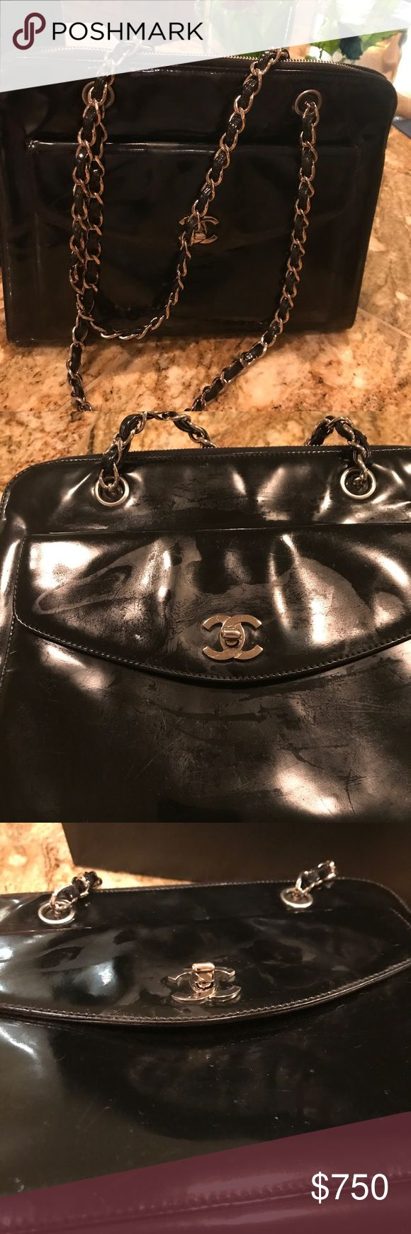 Authentic Chanel patent bag. Extra pics of flaws Please see my other listing for more information. This post is foe added pictures showing scratches and rubbing off of shiny coat. Can be fixed by a cobbler or by Chanel. Price is low due to this flaw. However hard to see and still beautiful I want you too see. Thanks CHANEL Bags Totes