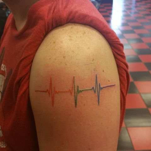 Image result for rainbow pulse tattoo