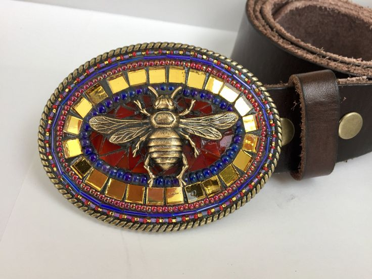 Gift for Bee Keeper, Brass Belt Buckle, Belts for Women, Leather Belts, Mosaic Belt Buckle, Custom Belt Buckle, Camilla Klein, Beaded Buckle by camillaklein on Etsy