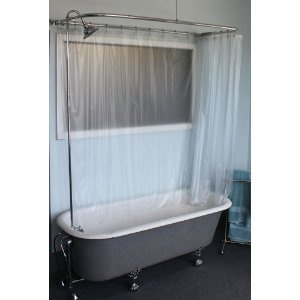 Claw Foot Tub Wall Mounted Shower Curtain Rod Add A Shower With Chrome Bell Shower Head