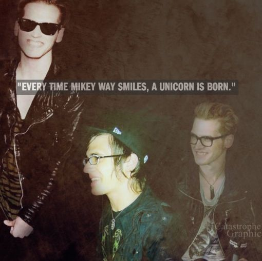 Every time Mikey Way smiles, a Unicorn is born. It's quite rare, which is why not many people will ever see a unicorn. (Also these pics are the cutest ever just look at him)