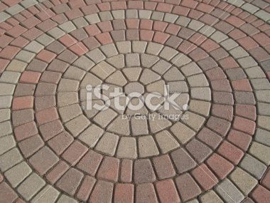Circular pattern in a brick paver setting  Pavers  Brick pavers Circular pattern Brick