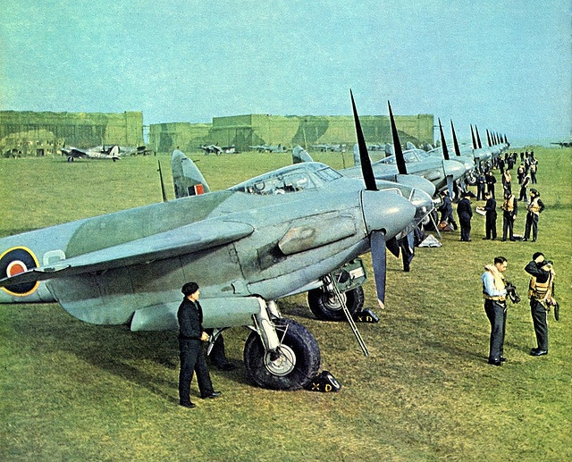 Mosquitoes of 139 Squadron RAF lined up at Marham Airbase, East Anglia, England - 1943