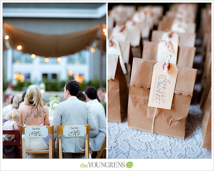 Chair signs, and wedding favors.