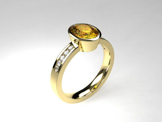 Trendy Oval cut citrine engagement ring with bezel setting