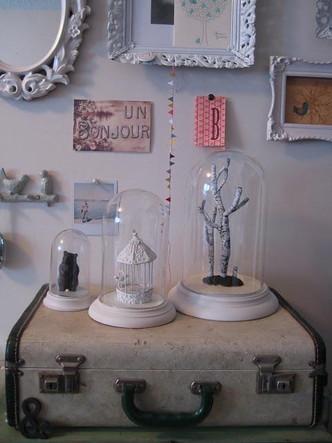 old people clocks = cute bell jars!