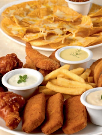 A Super Sampler of Fries, Mozarella Sticks, Chicken Wings, Breaded Chicken Strips and Onion Rings plus a plate of Nachos is always a crowdpleaser