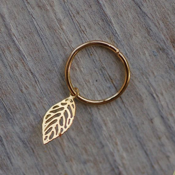 Tiny leaf cartilage earring gold leaf jewelry by junelittleshop