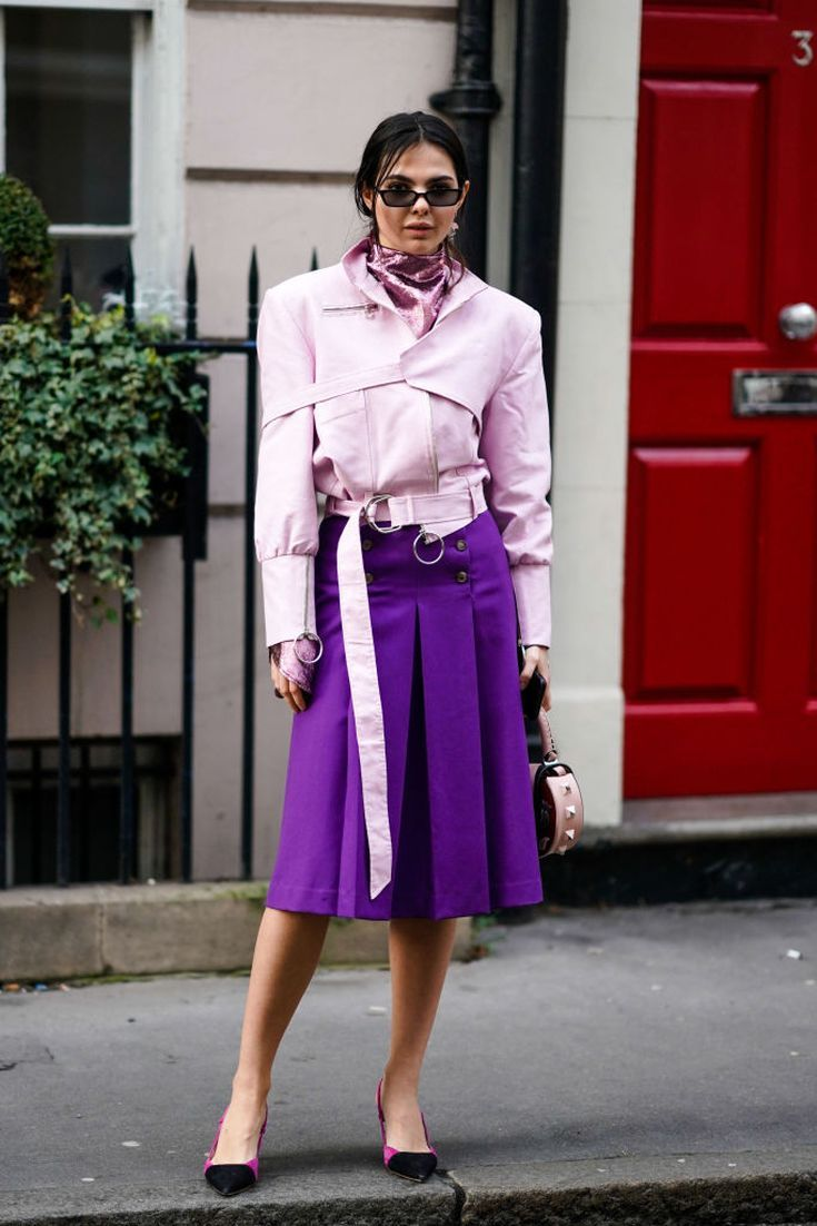 908df5833f2 12 Pretty Pastel Outfits You Can Wear Now to Look Chic  Pink Jacket and  Purple Skirt
