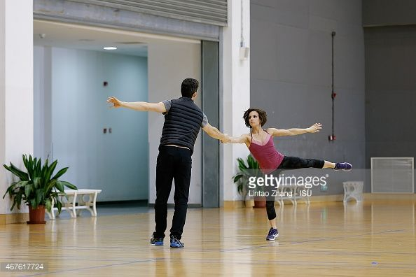 SHANGHAI, CHINA - MARCH 26: Meagan Duhamel and Eric Radford of Canada warm up before the compete Pairs-Free Skating on day two of the 2015 ISU World Figure Skating Championships at Shanghai Oriental Sports Center on March 26, 2015 in Shanghai, China. (Photo by Lintao Zhang - ISU/ISU via Getty Images)