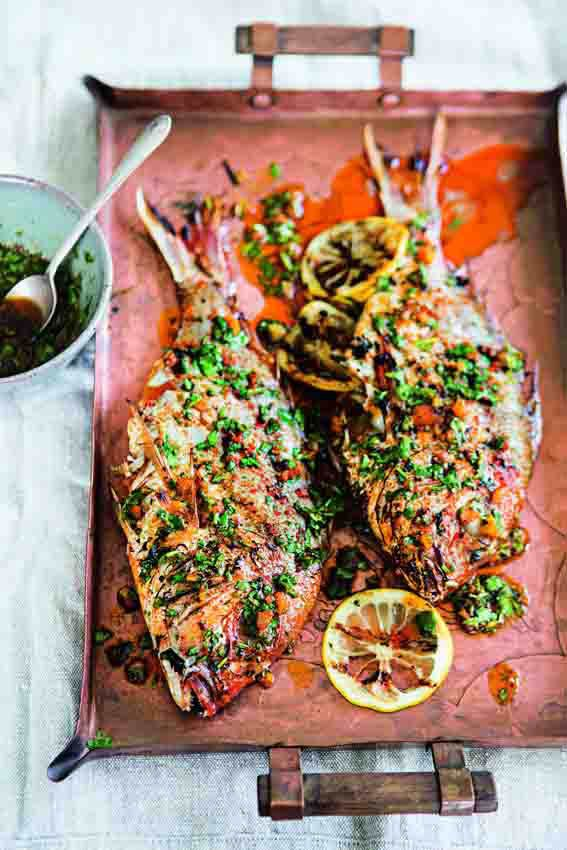 Spiced red snapper with charmoula