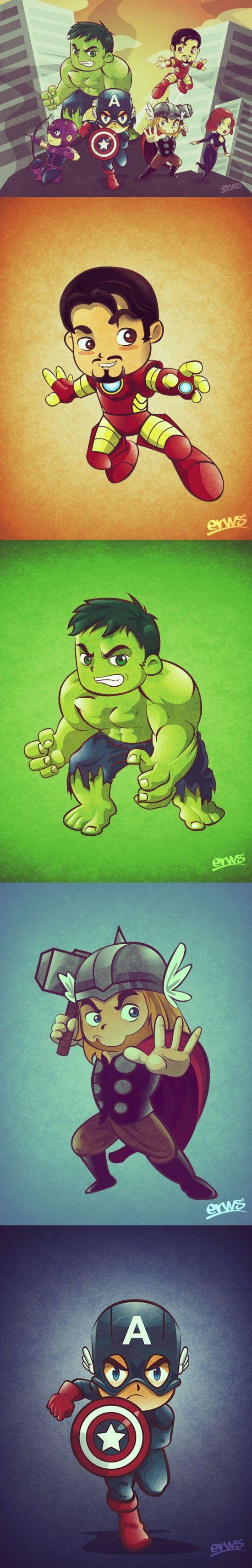 The Avengers - Fanart by Martin Erws.  mah, so cute