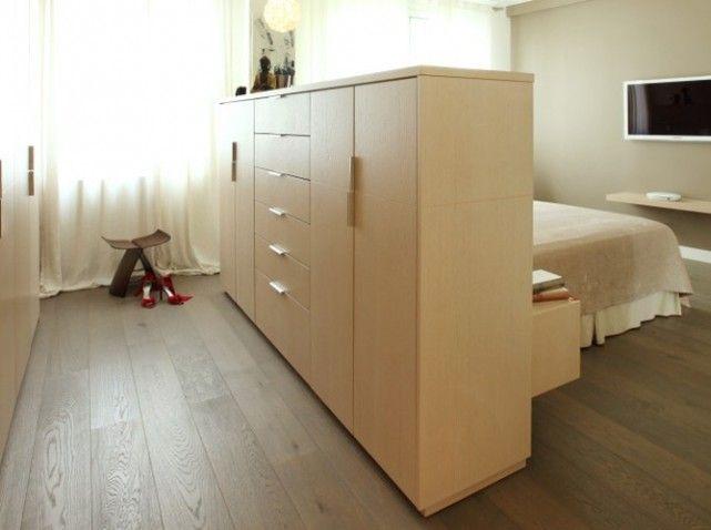 dresser replacing wall between living and bedroom
