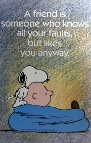 A friend is someone who knows all your faults -- but likes you anyway. Snoopy and Charlie Brown cartoon panel watching TV together in the 1960s blue bean bag. - DdO:) - http://www.pinterest.com/DianaDeeOsborne/peaceful-people/ - PEACEFUL PEOPLE enjoy true friendships! Cute Charles Schultz PEANUTS pin via merikay1469.