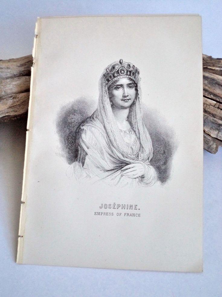 1889 Original Napoleon Josephine Steel Engraving Original Print, Josephine Portrait, Napoleon Antique Print, Napoleon Art, Military, France by MushkaVintage3 on Etsy