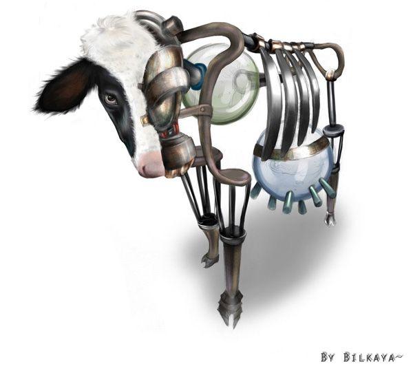 Vacas: A vaca é vista como uma máquina e nada mais do que isso. Ela está lá apenas para servir. Assim como as máquinas, é apontado as vantagens das vacas, como por exemplo: auto-reprodução, não necessita de mão-de-obra especializada, além de obter leite a partir dela, é possível também utilizar seu esterco como adubo, o couro, a carne e até usada como meio de transporte para pequenos veículos. Nessa teoria, as vacas são máquinas excelentes.