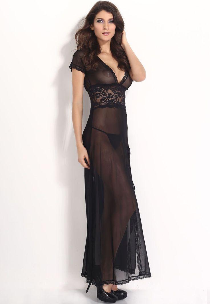Black Mesh and Lace V Neck Lingerie Gown https://www.modeshe.com #modeshe @modeshe #Black