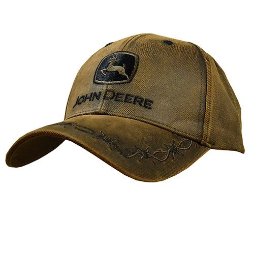 The most recognized tractor hat in the world. This hat features a 6-Panel oilskin look twill construction with an adjustable Velcro closure. A traditional John Deere logo is embroidered on the front p