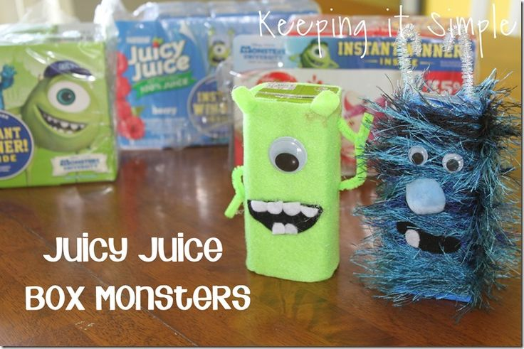 Keeping it Simple: Juice Box Monsters. Great kids craft and snack!