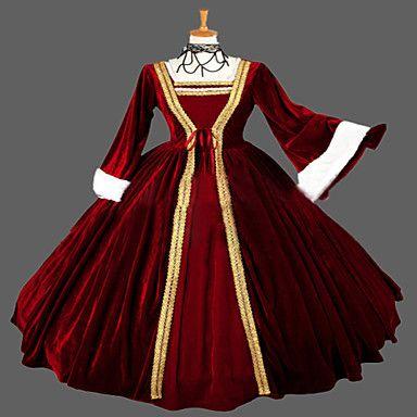 steampunk®wine rosso vestito gotico vittoriano pallone abbigliamento abito rievocazione teatrale del 2016 a €121.51