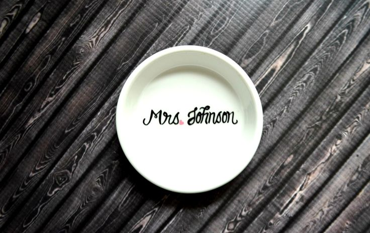 Ring Dish Mrs. Engagement Ring Holder Gift for by WithThisDish