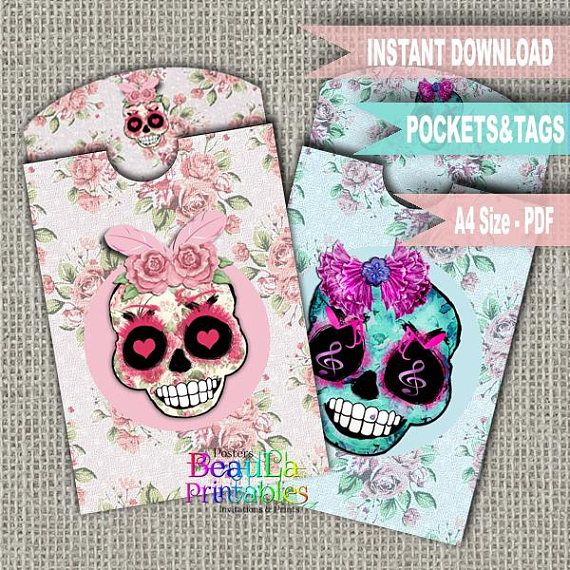 Sugar Skulls Tag & Pocket Tag Pocket Template Printable Tag