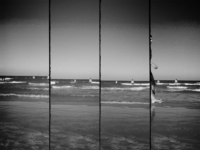 Valencia, beach. Sections. Black and white