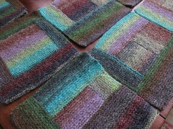 Seven squares using Noro Silk Garden.