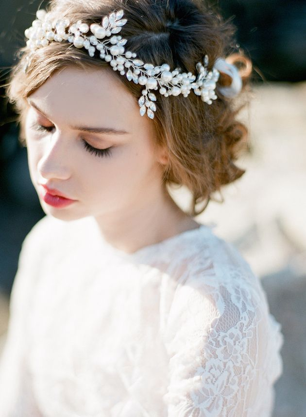 Pearl bridal headpiece by Bride La Boheme