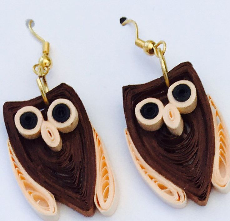 Christmas Gifts for Women - Gift for Her - Great Gift for Mom - Owl Quilled Earrings - Wearable Art - Paper Earrings - Fun Loving Jewelry
