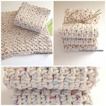 Natural Cotton Wash Cloths Dish Cloth Eco Friendly Beige Handmade Crochet Set of 3