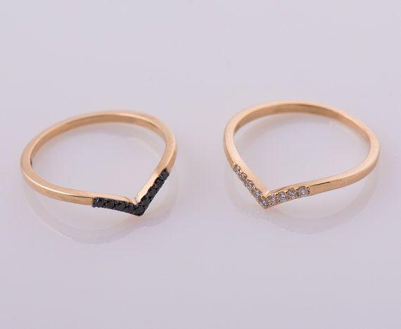 V en forme danneau 14K bague en or Rose bague de diamants