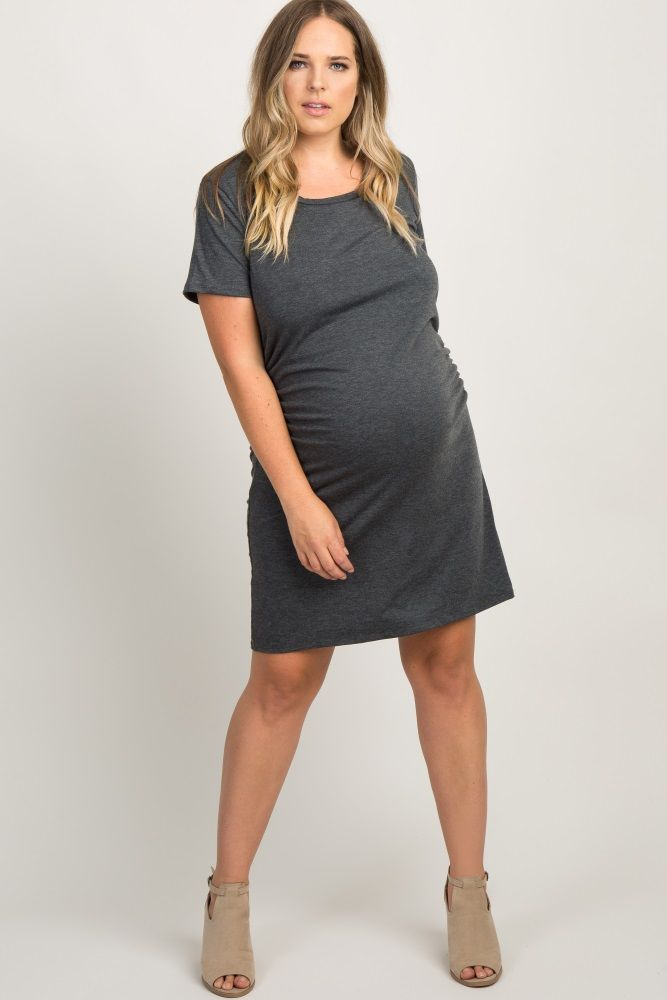 1ebaa1492da30 Navy Blue Basic Ruched Fitted Plus Maternity Dress | Dress The Bump ...