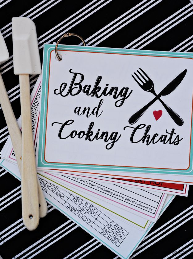 Printable cooking and baking cheats- free cards full of information.  Print these off and use in your kitchen!