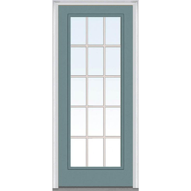 Milliken Millwork 32 in. x 80 in. Classic Clear Glass GBG Full Lite Painted Fiberglass Smooth Prehung Front Door, Riverway