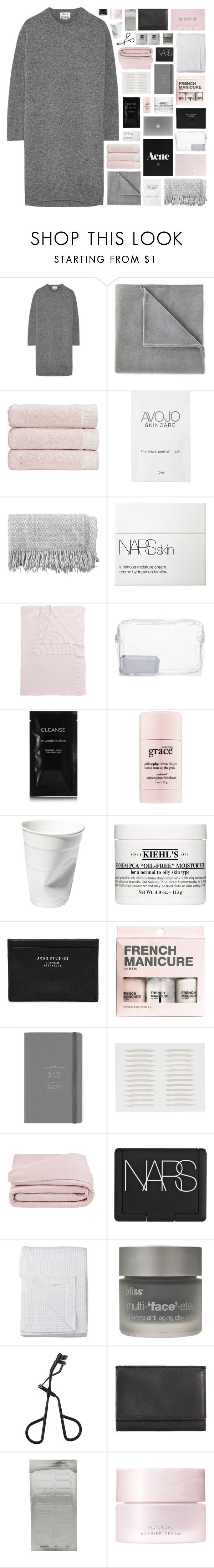 """""""- send me your location, let's ride the vibrations"""" by p-ureness ❤ liked on Polyvore featuring Acne Studios, Vellux, Christy, canvas, NARS Cosmetics, Tartine et Chocolat, Topshop, Cleanse by Lauren Napier, philosophy and Kiehl's"""